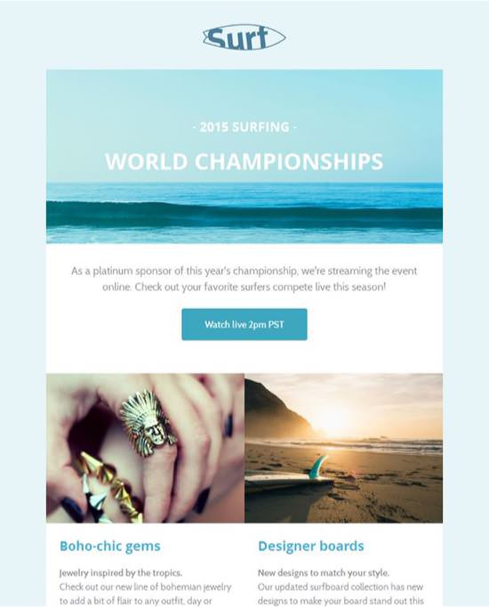 Surf Announcements Email Template