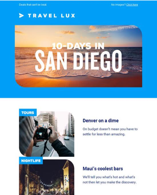 Travel Lux Newsletters Email Template
