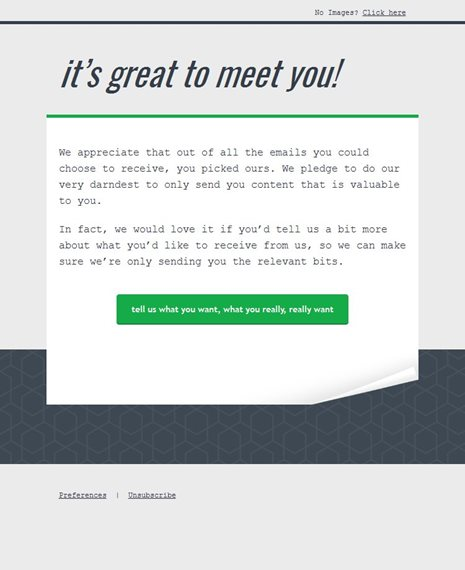 Manage Preferences Welcome Email Template