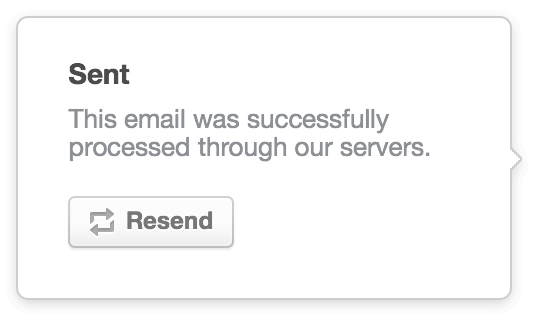 Sample notice of successful email send