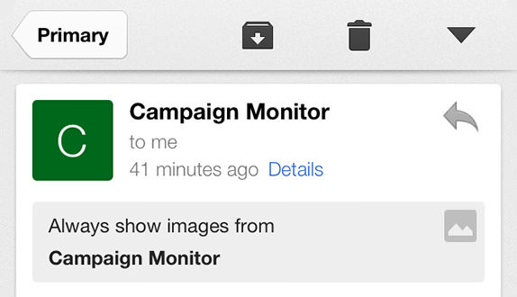 Gmail for iOS primary email example