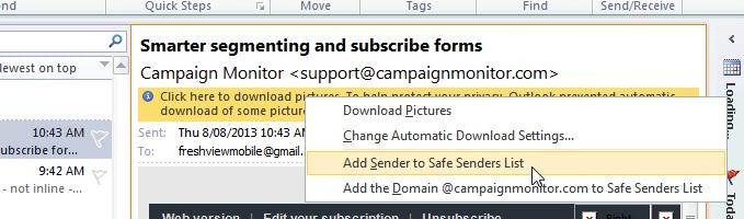 Outlook whitelist / safe sender example