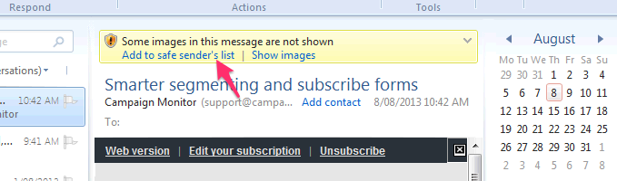 Windows Live whitelist example