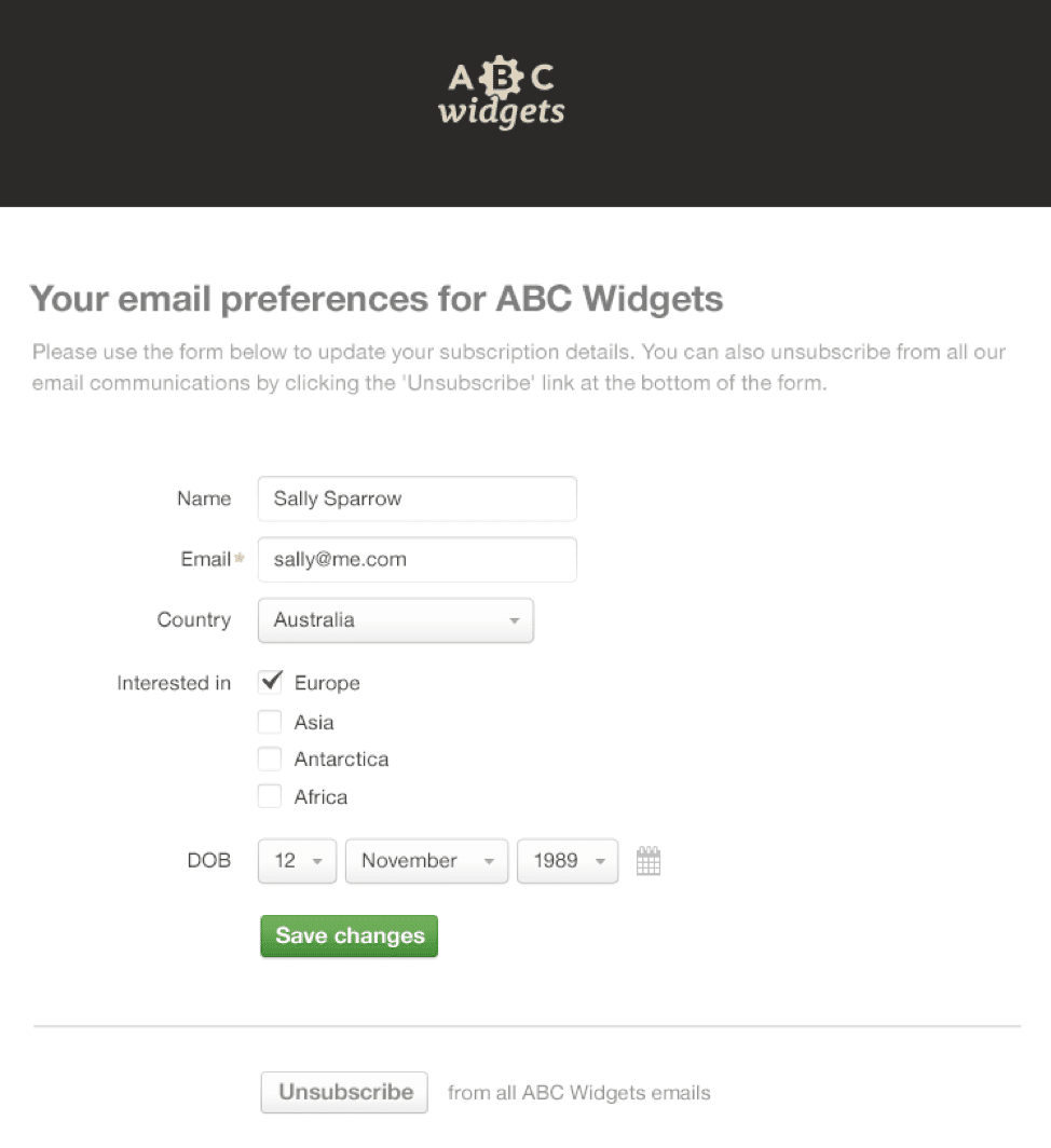 Implement a preference center so email recipients can adjust their notification rings to their liking without having to miss out on the pertinent information
