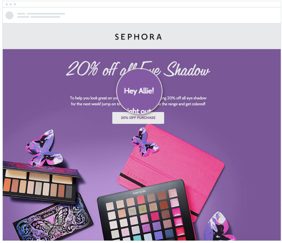 By addressing her by name and including a call-to-action button, Sephora is sending her a message and prompting a response outside of the email, which makes this email format interactive.