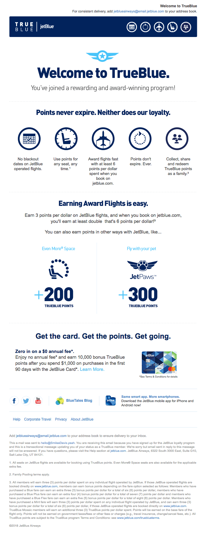 Welcome emails examples - JetBlue