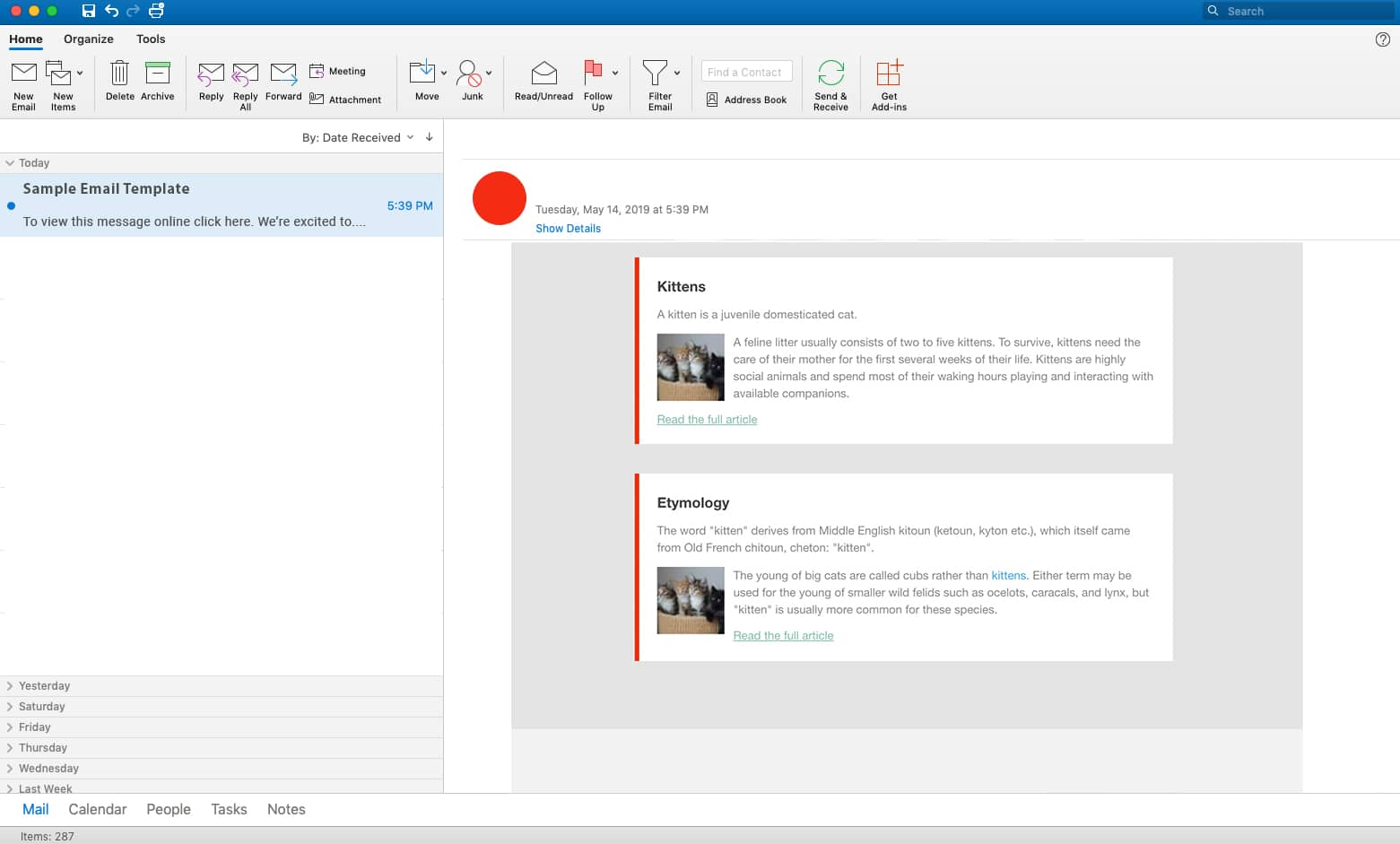 email rendering in outlook showing multiple article snippets