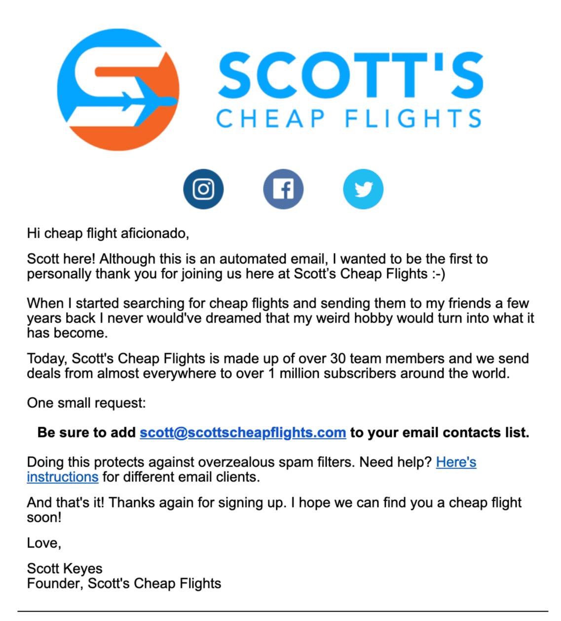 Scott's Cheap Flights welcome email whitelist example
