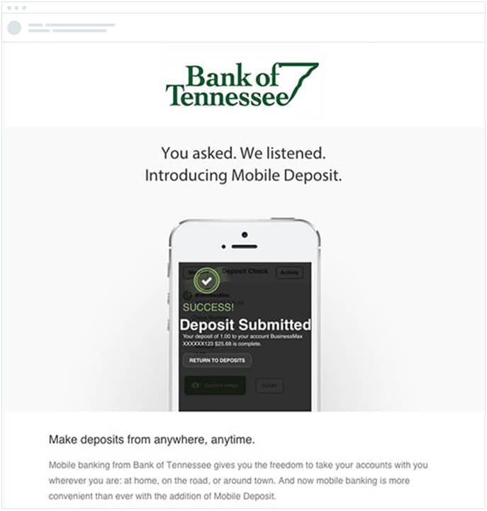 Bank of Tennessee - A/B Test - Email Visuals