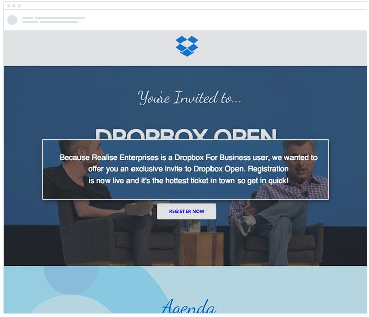 Dropbox - A/B Test - Personalize Content with Company Name