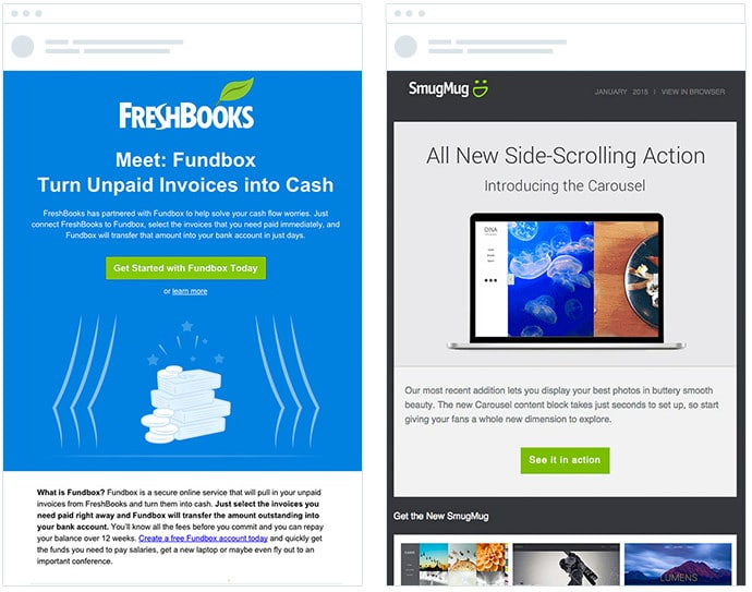 Freshbooks and SmugMug - Email Style Comparison