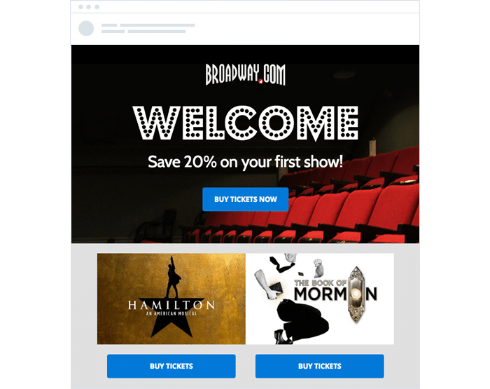 Broadwaydotcom Automated Welcome email