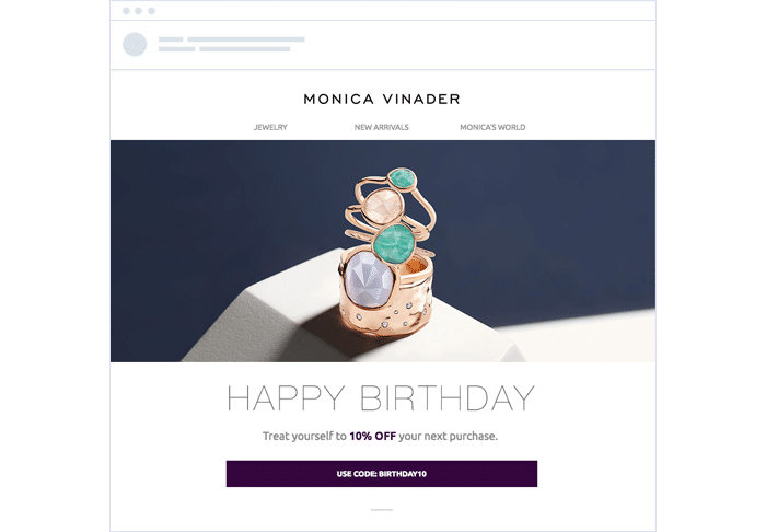 Monica Vinader Automated birthday email