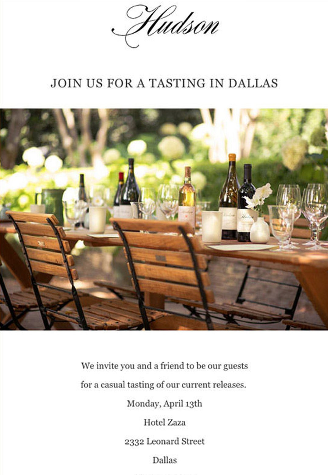 Hudson Ranch and Vineyards - Email Marketing Campaign - Invitation Email