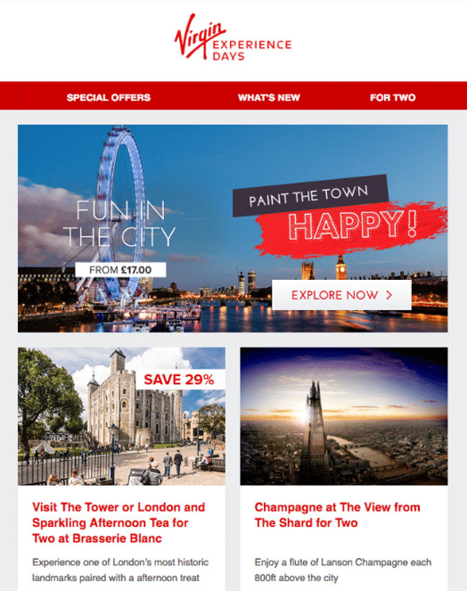 Virgin Experience Days – Relevant Promotional Emails per Customer