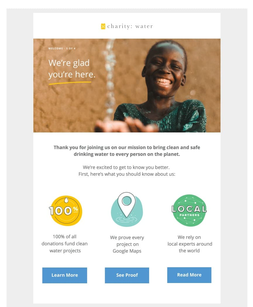 welcome email example - Charity Water