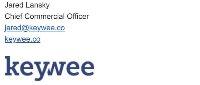 Aquí hay un ejemplo del director comercial de keywee: