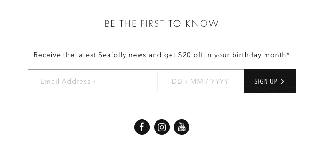 Seafolly – Email Address Sign Up Form