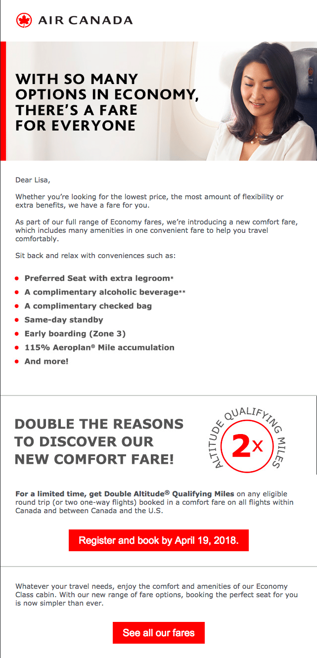 Air Canada – New Offer Email