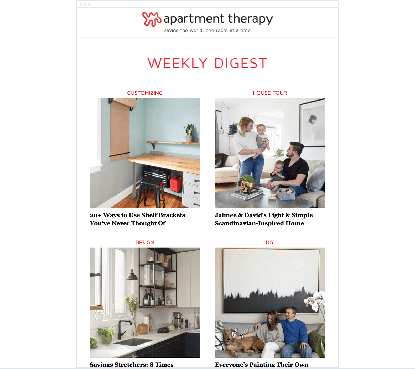 Apartment Therapy – Email Newsletter Images