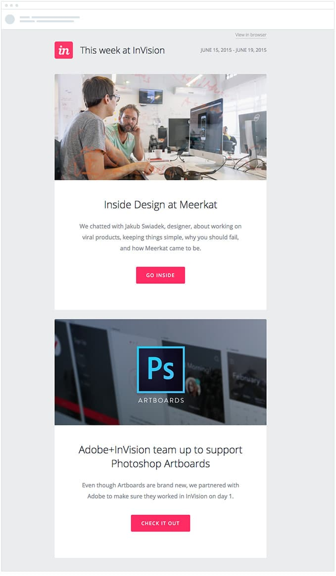 Invision – Email Newsletter Content