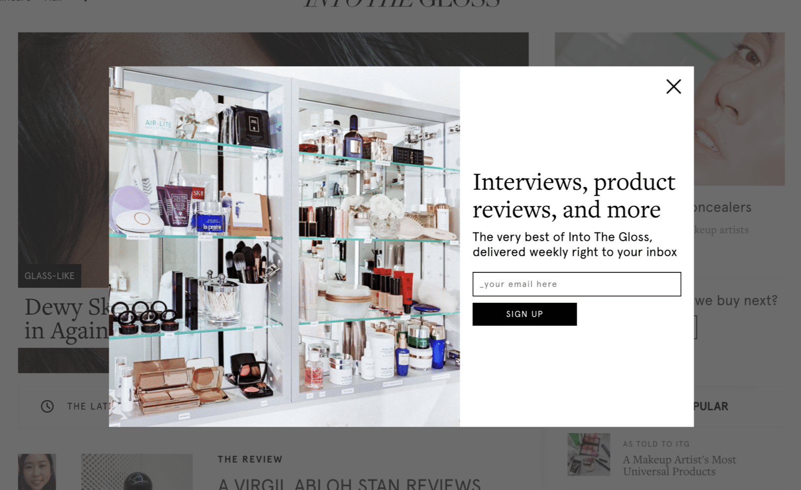 example popup newsletter signup form on a website about beauty products