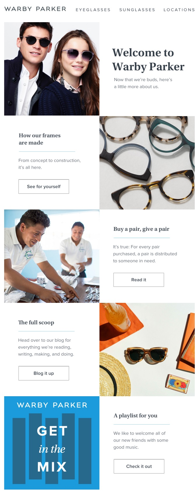 This welcome email introduces Warby Parker's newest subscribers to their brand and shares the company's value.