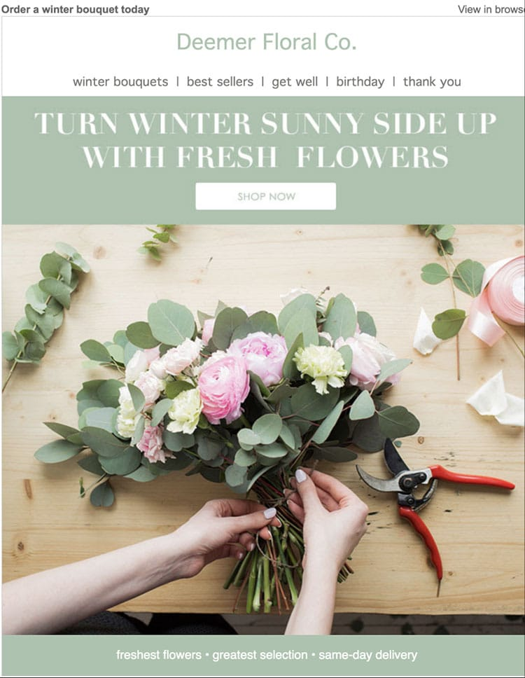 The email above uses seasonal appeal in its messaging, encouraging subscribers to take advantage of the florals available during the cold winter months.