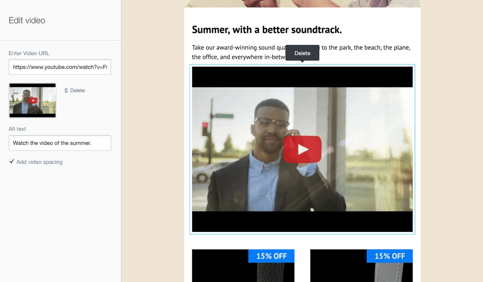 adding the url of your video automatically generates a thumbnail in campaign monitor
