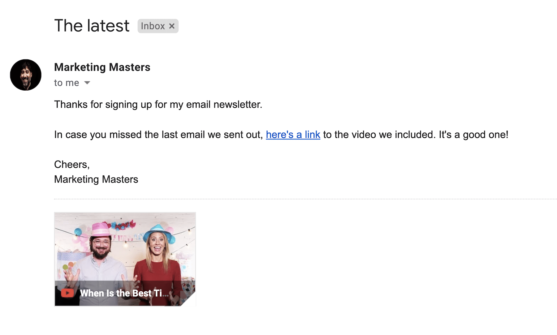 an email with a youtube link can show a youtube video in the inbox if opened in gmail