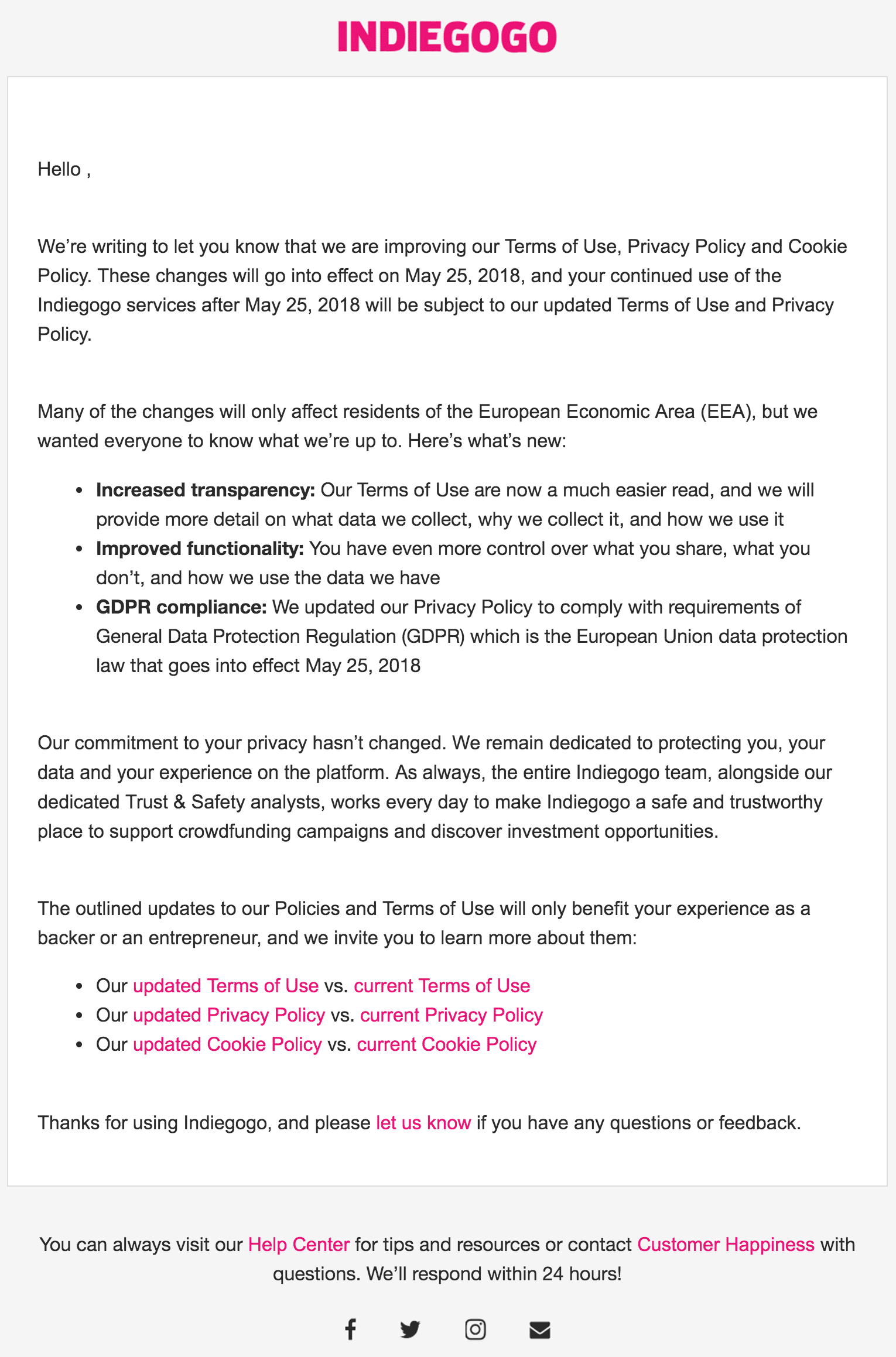 Indiegogo Updated Terms of Use and Privacy Policy email example - Examples of Updated Privacy notice Emails