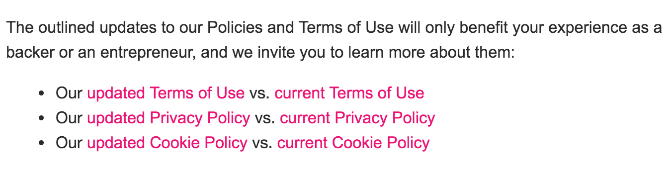 TOU and Privacy Policy email example - links to updated policies