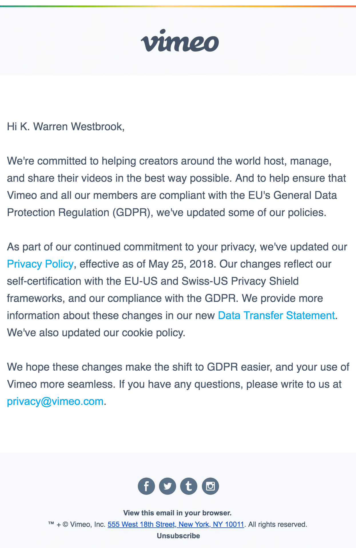 Vimeo TOU email example: Great Examples of Updated Privacy Statement Emails