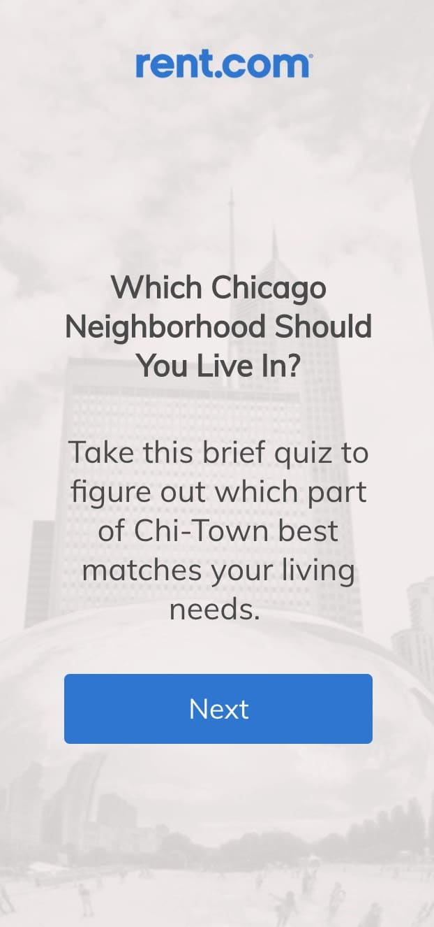 This email from Rent.com includes an interactive quiz to serve its subscribers while keeping them engaged.