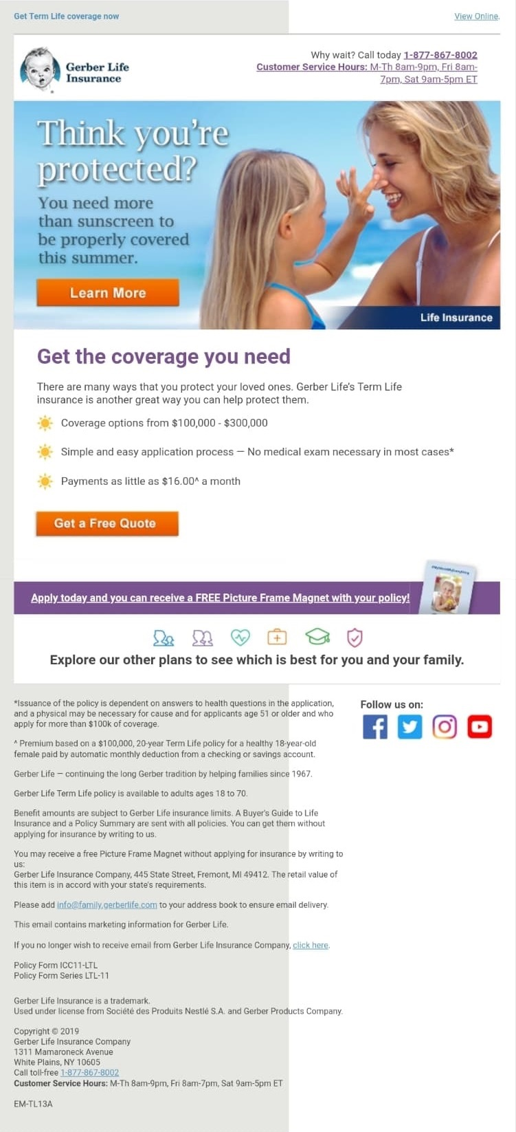 Email Marketing Example from The Gerber Insurance Company