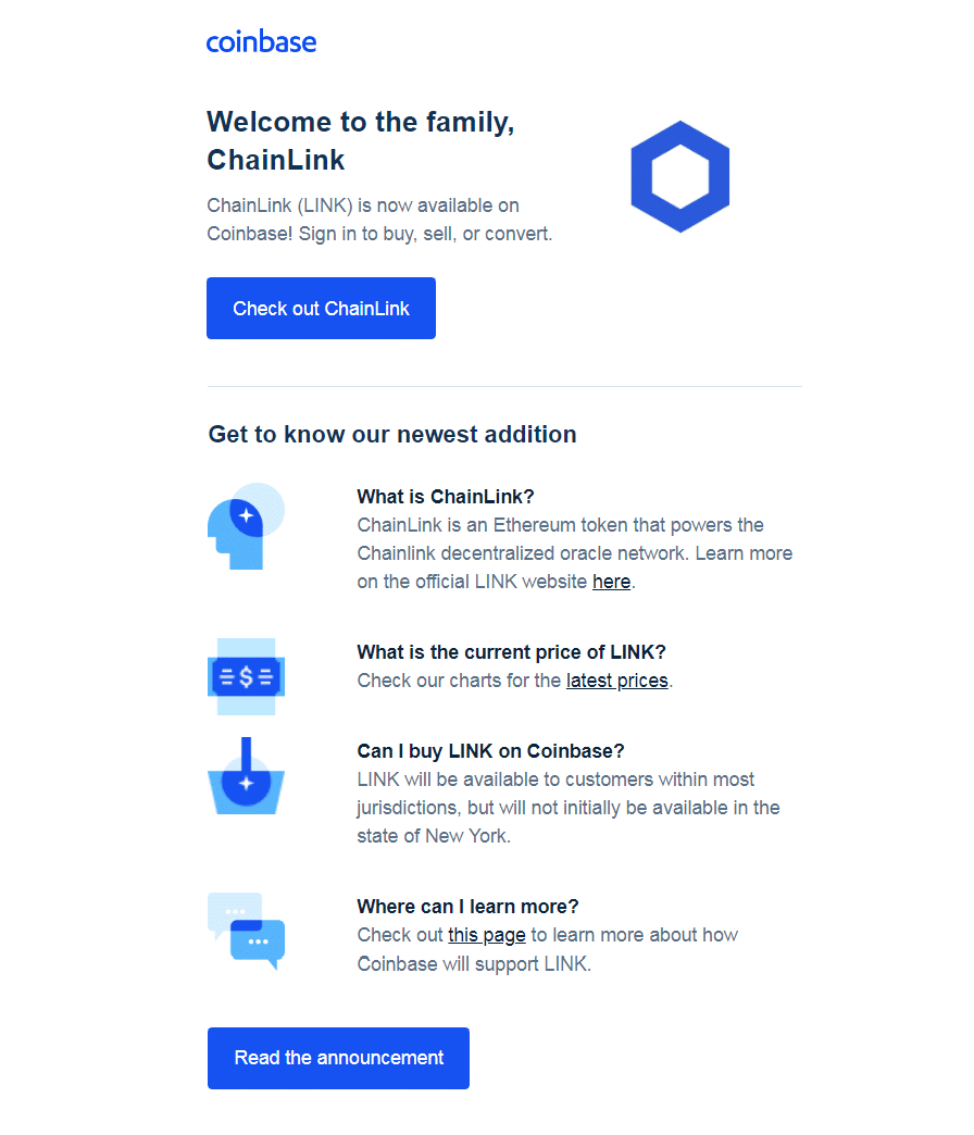 Coinbase Chainlink announcement email lead pages
