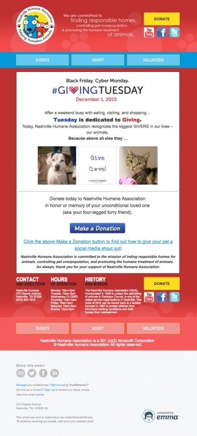 Nashville Humane Association does a great job of using their branding and other images to compel readers to donate.