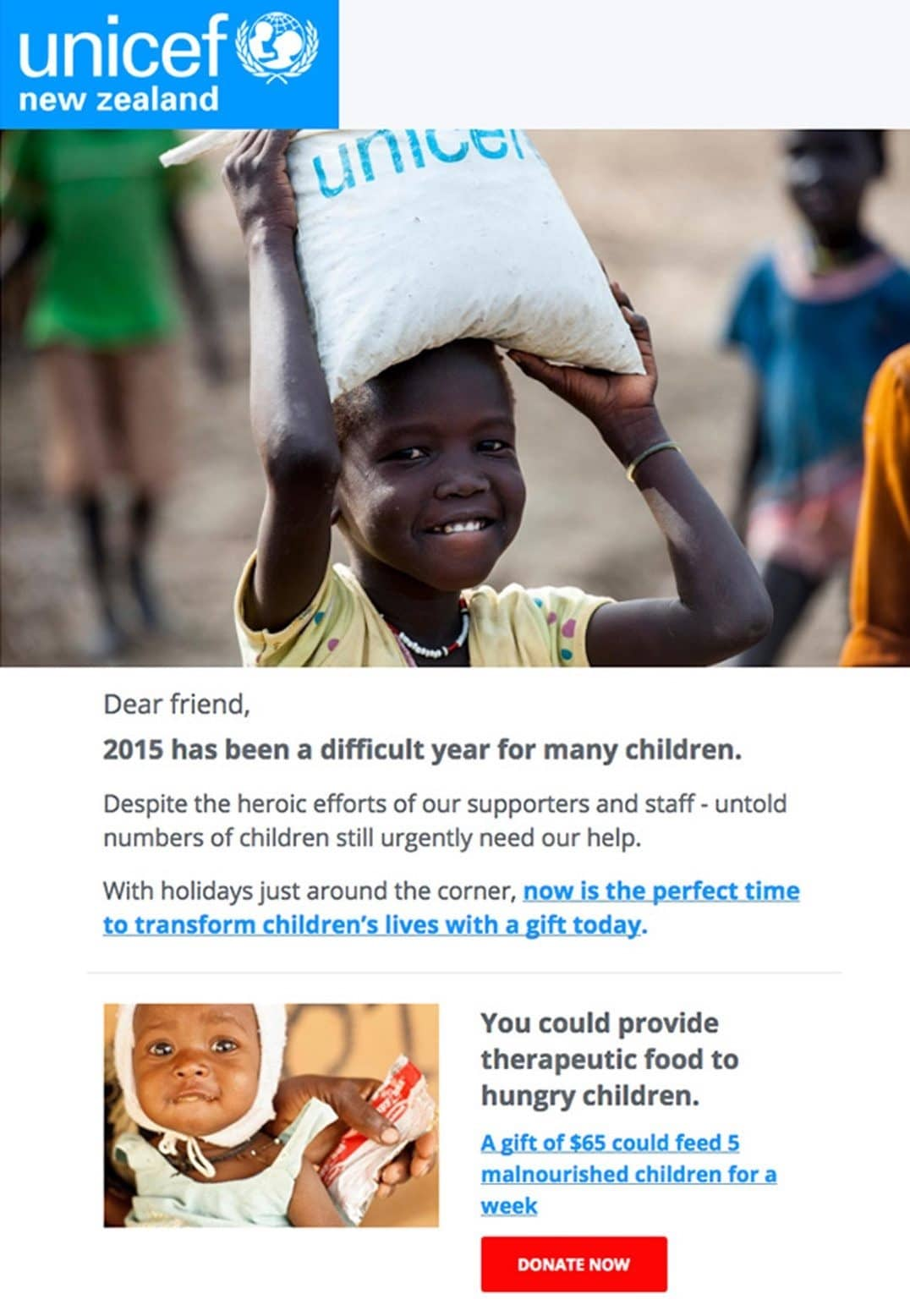 UNICEF New Zealand pairs excellent copywriting with impactful imagery to get readers to donate