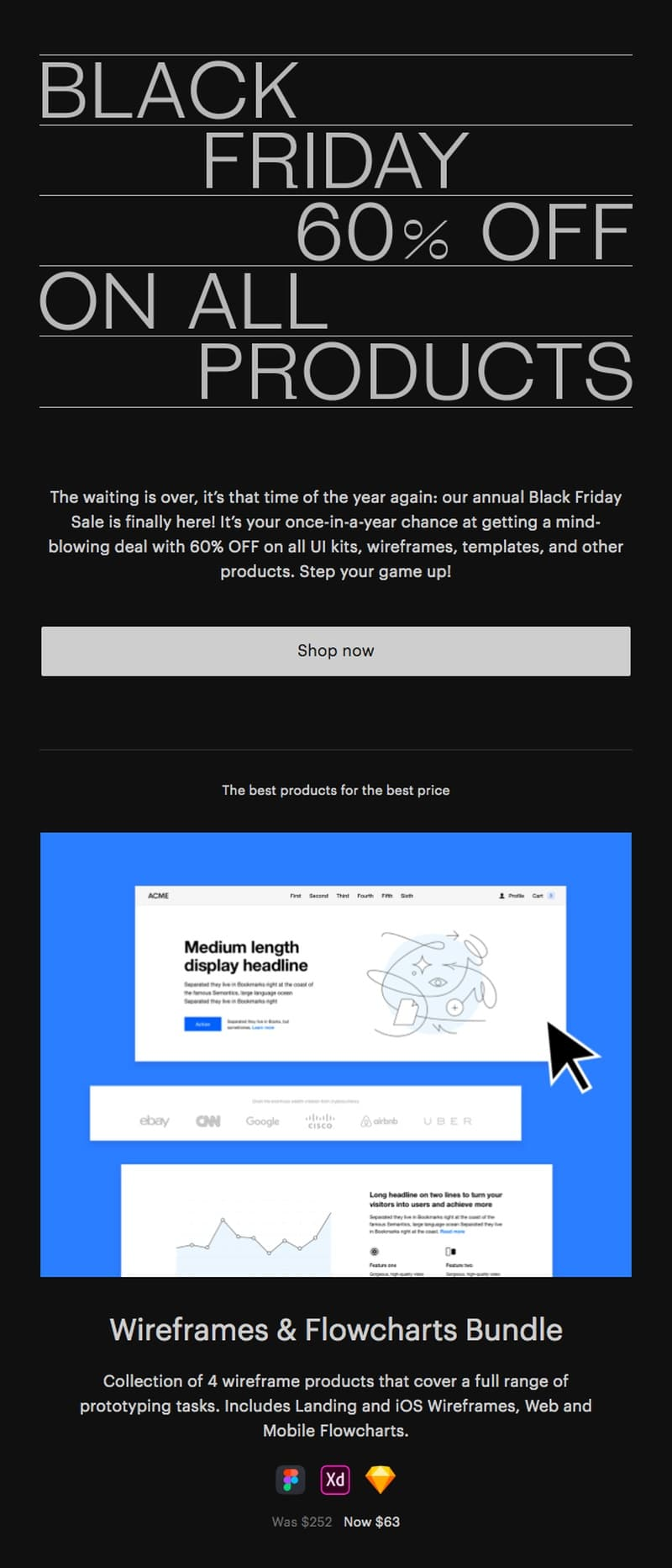 Great Simple Studio email showing an example of a Black Friday message with the most important details in the headline