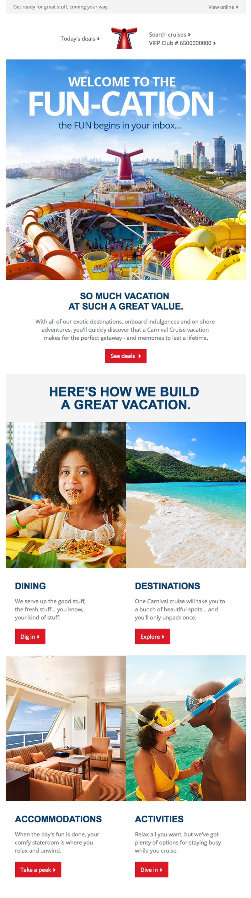 Carnival Cruise Line email showing an example of a travel agency email welcome message