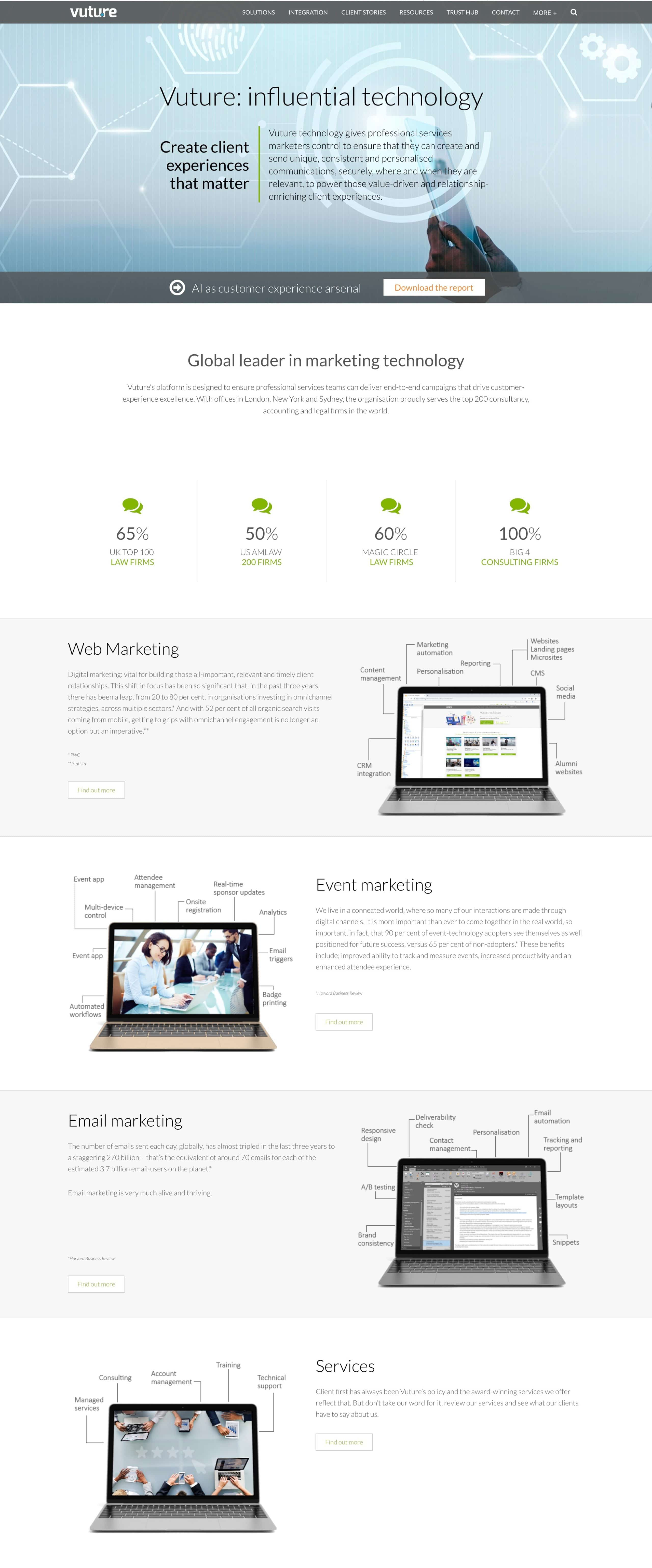 Vuture landing page example with authority-building content that converts and speaks directly to their buyer persona