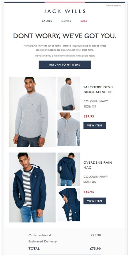 Jack Wills sends an abandoned cart transactional email to a potential customer.