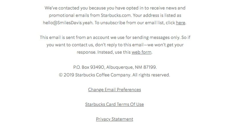 footer of Starbucks campaign email showing examples of linked resources for customers' convenience