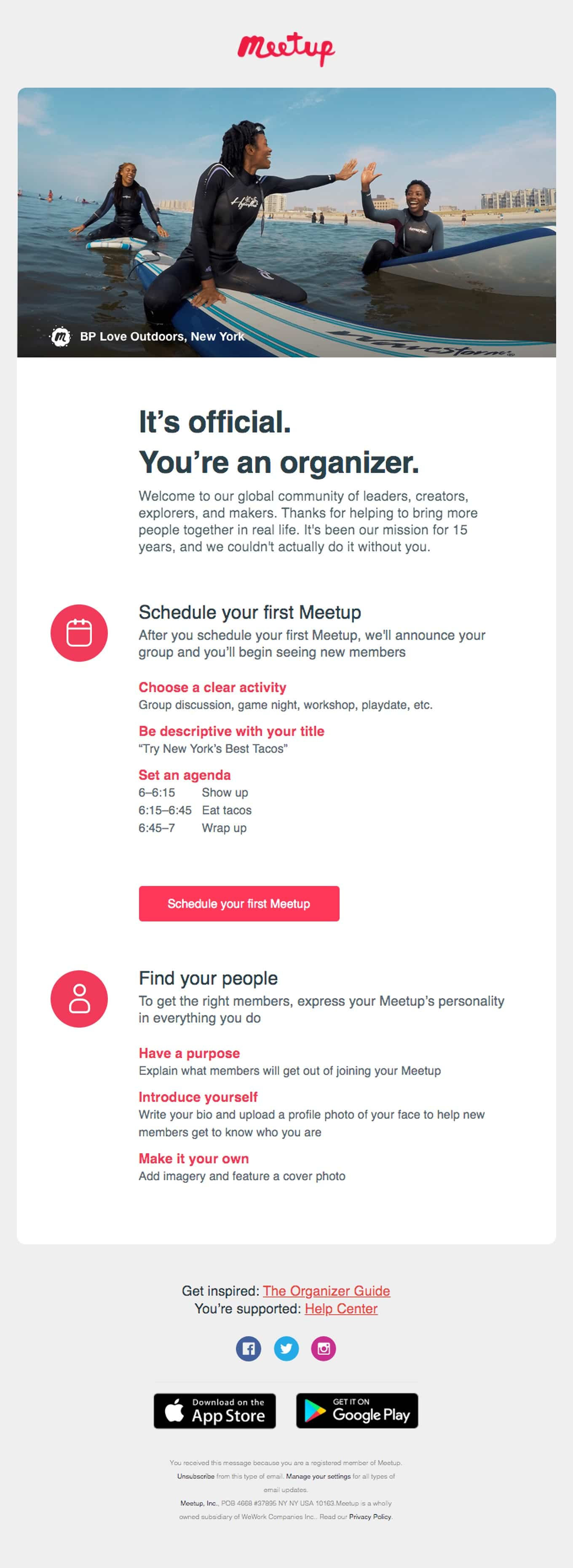 Basic Schedule layout confirmation email for events example