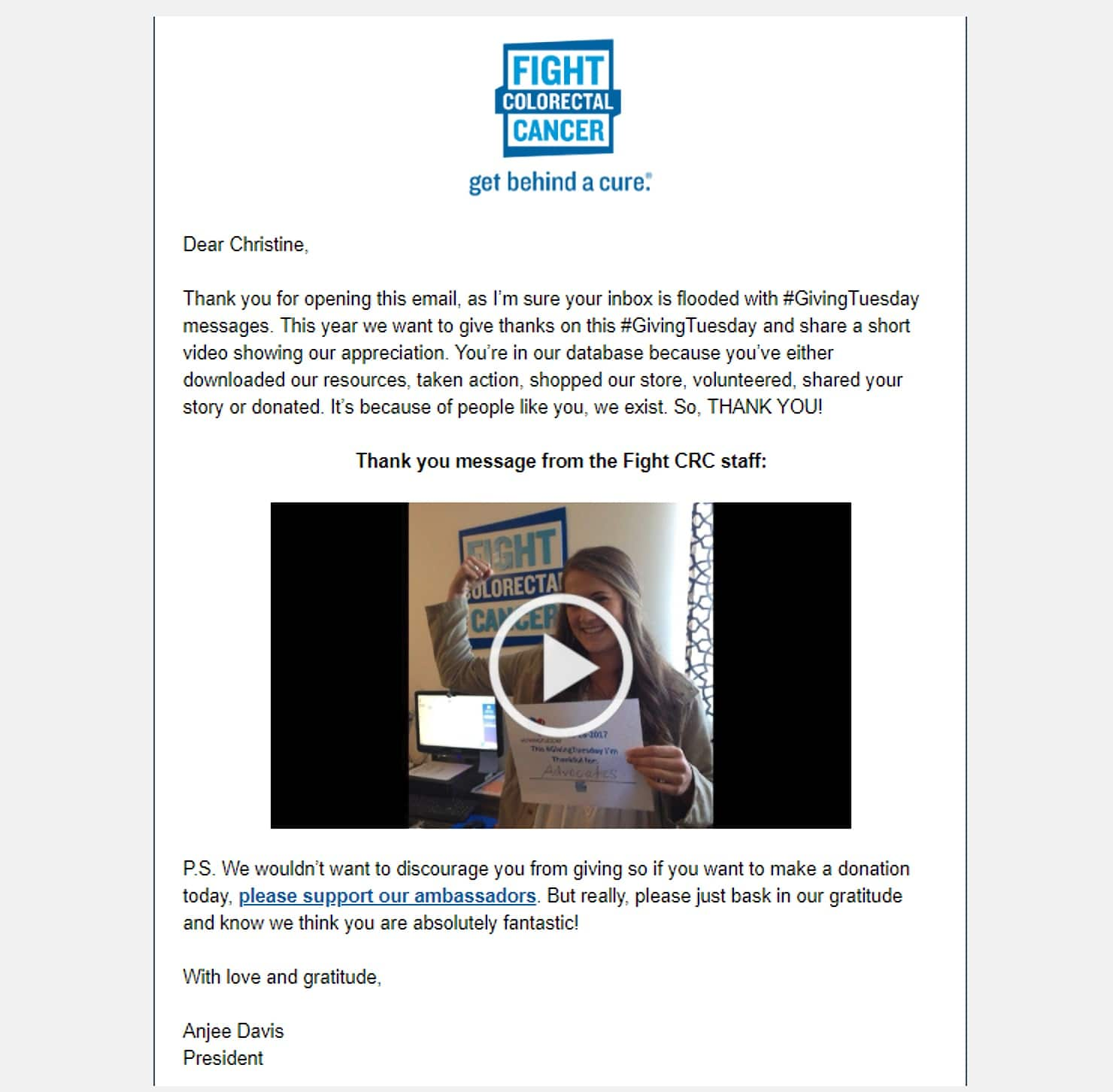 Example of a video email thank you message