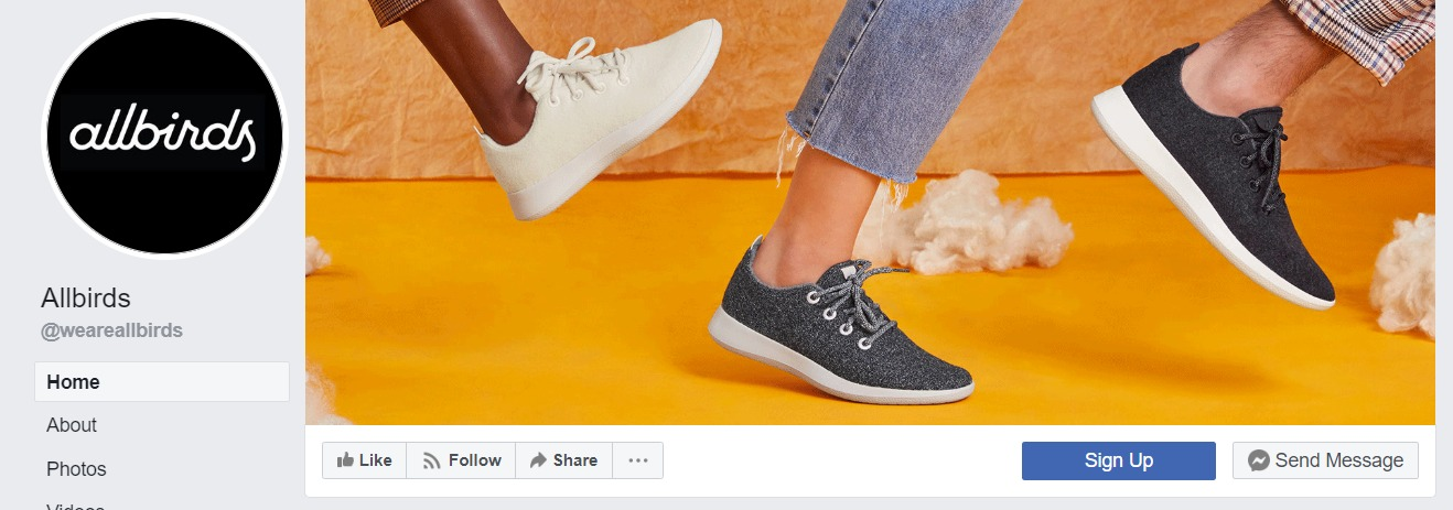 Allbirds offers signup button on Facebook