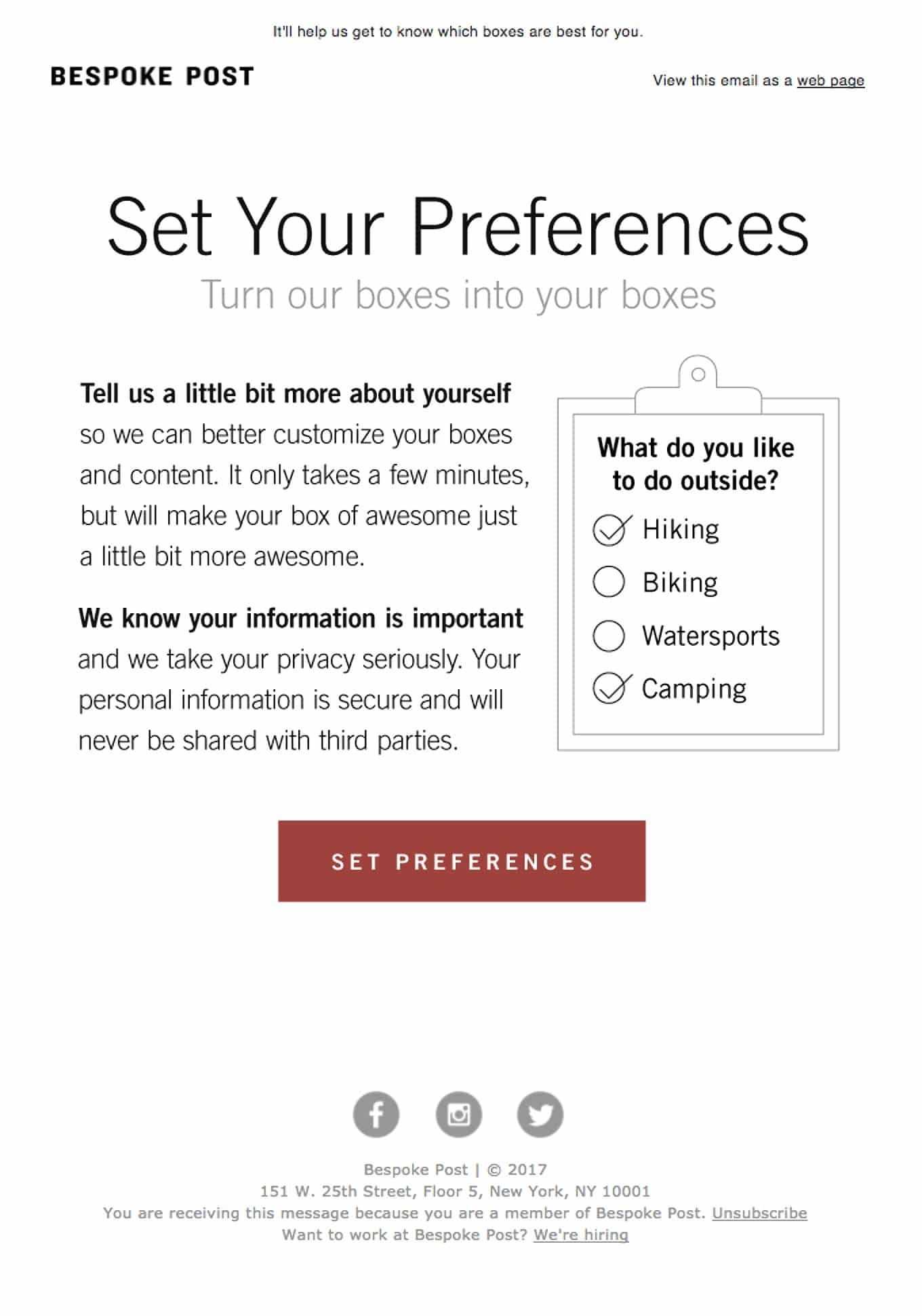 Email Preferences Email Example