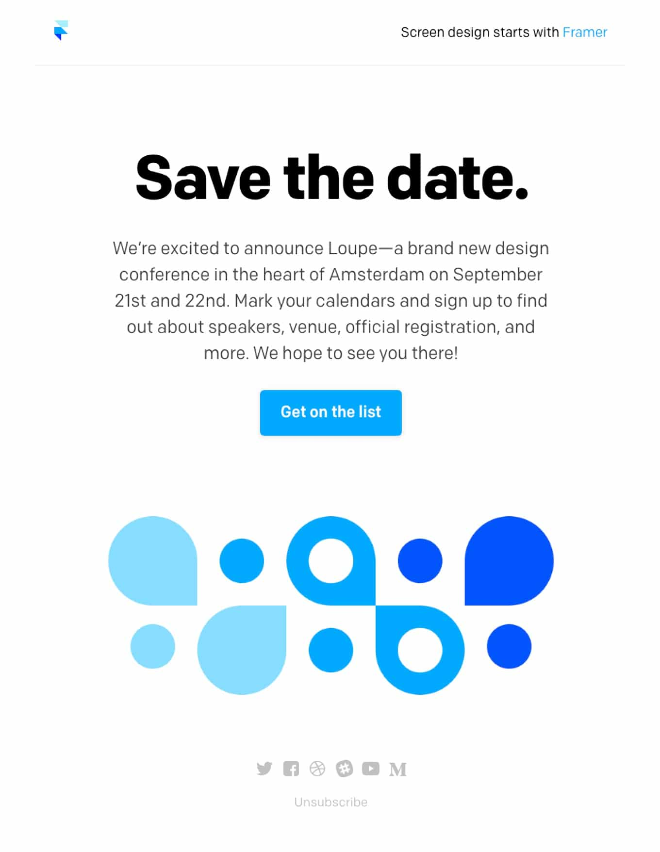 Framer event announcement email invitation