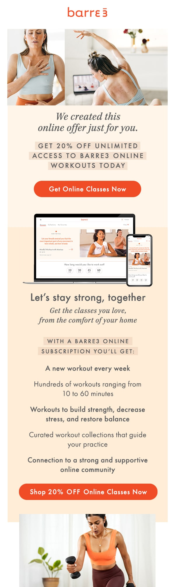 barre3 sent this email out to inform their audience of new online classes while locations were closed