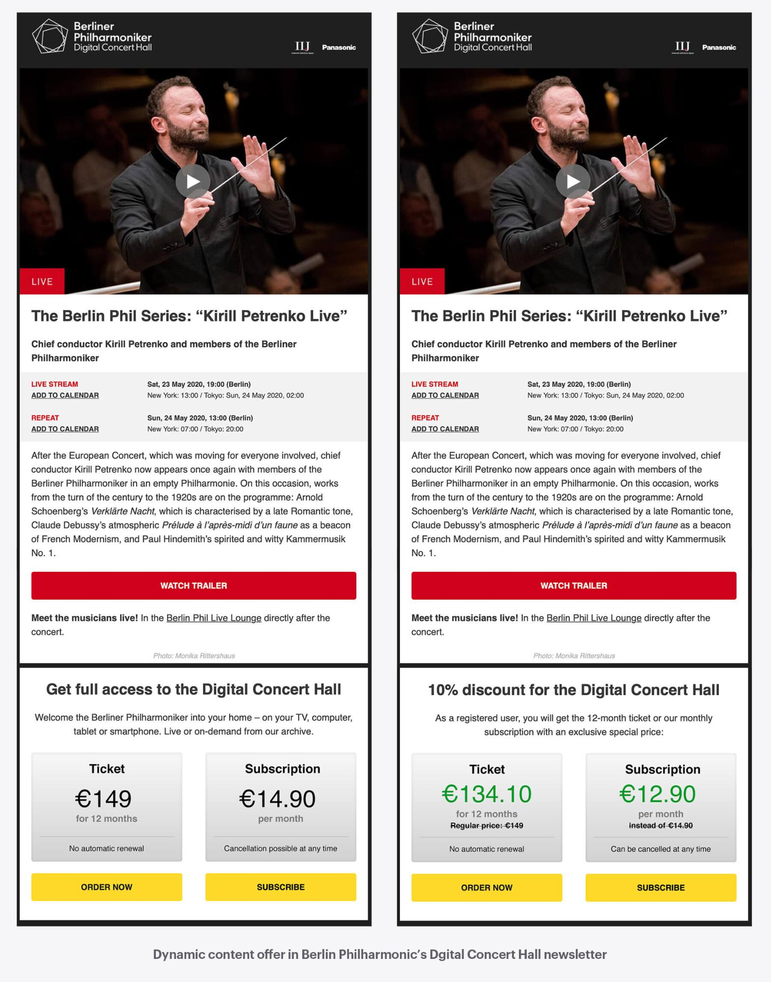 The Berlin Philharmonic uses dynamic content to present the right offer to the right group.